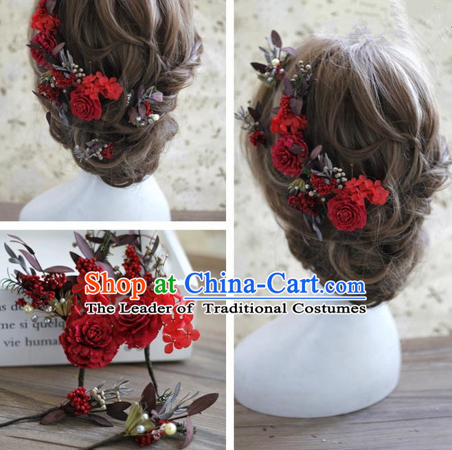 Top Grade Handmade Wedding Bride Hair Accessories Red Flowers Headwear, Traditional Princess Baroque Hair Stick Headpiece Hairpins Complete Set for Women