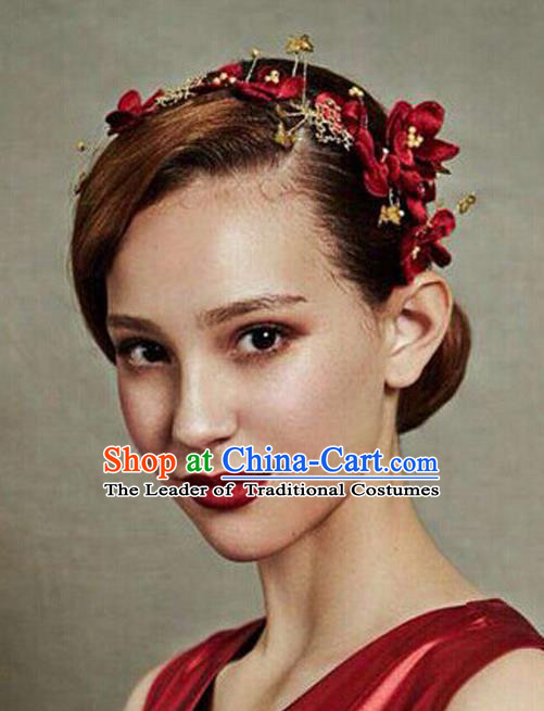 Top Grade Handmade Wedding Bride Hair Accessories Red Flowers Hair Clasp, Traditional Princess Baroque Hair Clips Headpiece for Women