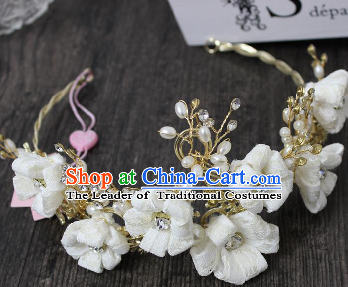 Top Grade Handmade Wedding Bride Hair Accessories Linen Flowers Hair Clasp, Traditional Princess Baroque Hair Clips Headpiece for Women