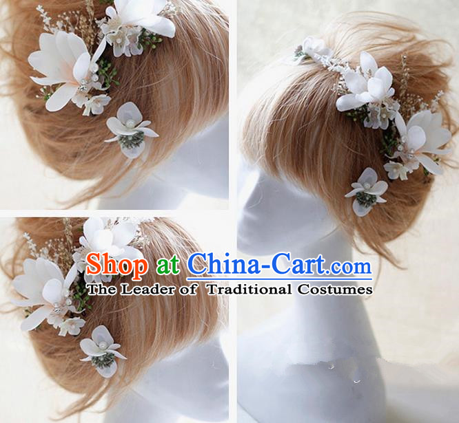 Top Grade Handmade Wedding Bride Hair Accessories White Flowers Hair Claws, Traditional Princess Baroque Hairpin Headpiece for Women