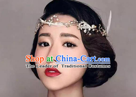 Top Grade Handmade Wedding Bride Hair Accessories Feather Headband, Traditional Princess Baroque Hair Clasp Headpiece for Women