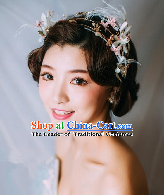 Top Grade Handmade Wedding Bride Hair Accessories Feather Flower Hair Clasp, Traditional Princess Baroque Headband Headpiece for Women