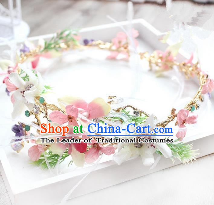 Top Grade Handmade Wedding Bride Hair Accessories Feather Pink Flower Hair Clasp, Traditional Princess Baroque Headband Headpiece for Women