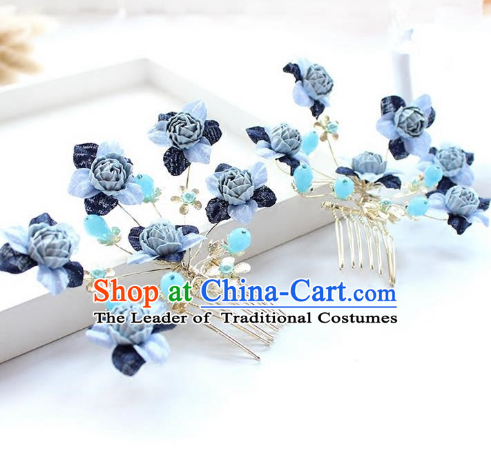 Top Grade Handmade Wedding Bride Hair Accessories Blue Flowers Hair Combs, Traditional Princess Baroque Hair Stick Headpiece for Women