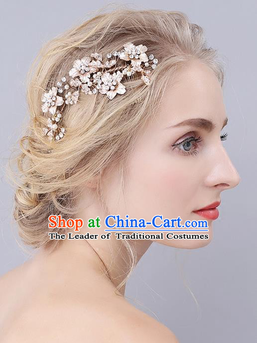 Top Grade Handmade Wedding Bride Hair Accessories Flowers Hair Clips, Traditional Princess Baroque Pearl Hair Stick Headpiece for Women