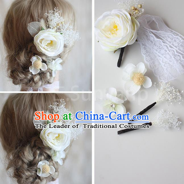Top Grade Handmade Wedding Bride Hair Accessories White Flowers Hair Clips Complete Set, Traditional Princess Baroque Hair Stick Headpiece for Women