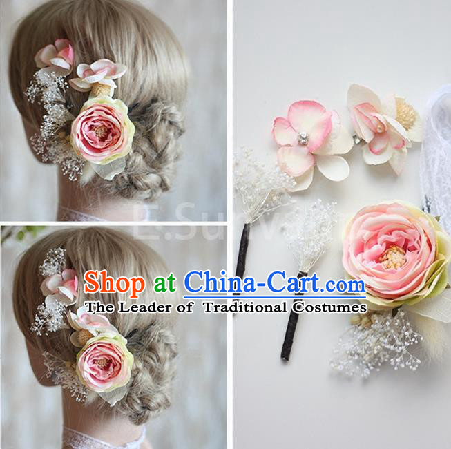 Top Grade Handmade Wedding Bride Hair Accessories Pink Flowers Hair Clips Complete Set, Traditional Princess Baroque Hair Stick Headpiece for Women