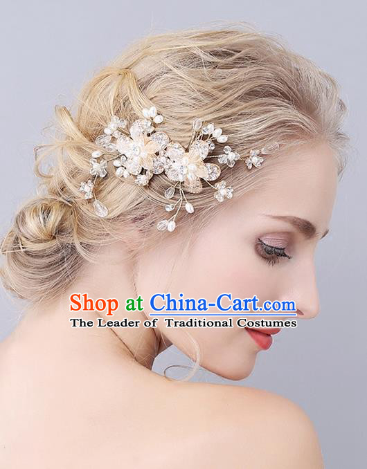 Top Grade Handmade Wedding Bride Hair Accessories Crystal Hair Clip, Traditional Princess Baroque Pearl Hair Combs Headpiece for Women