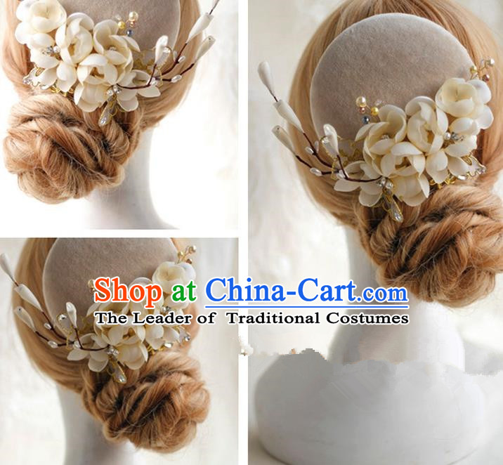 Top Grade Handmade Wedding Bride Hair Accessories Hat, Traditional Princess Baroque Beige Flowers Top Hat Headpiece for Women