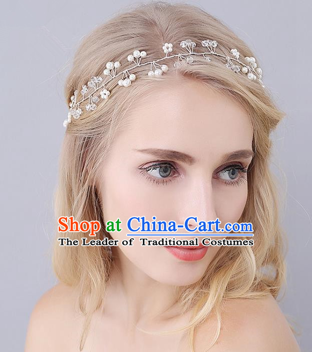 Top Grade Handmade Wedding Bride Hair Accessories Pearl Headband, Traditional Princess Baroque Hair Clasp Headpiece for Women