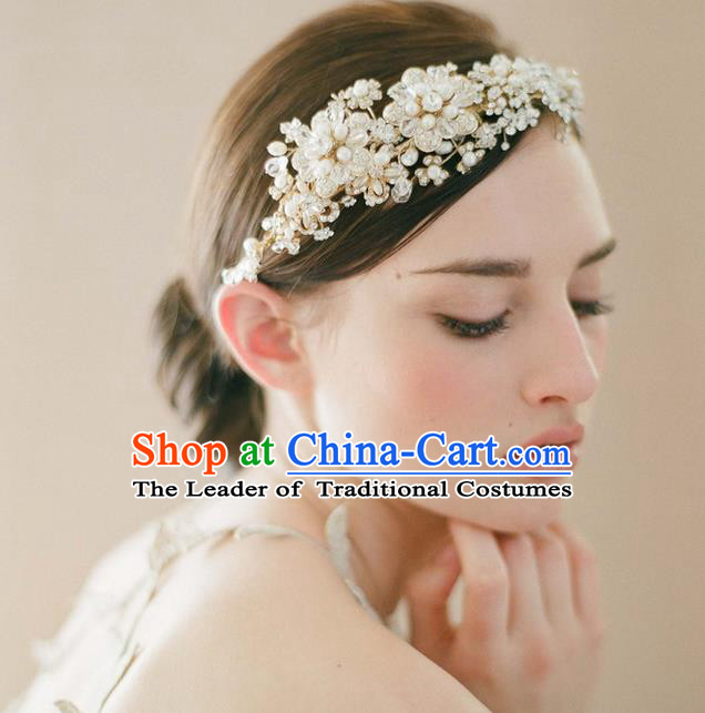 Top Grade Handmade Wedding Bride Hair Accessories Crystal Headwear, Traditional Princess Baroque Hair Stick Headpiece Pearl Hair Clips for Women