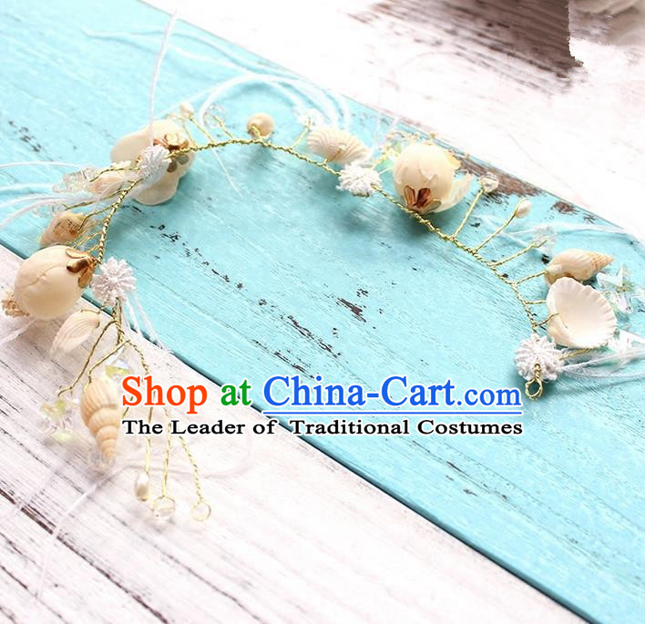 Top Grade Handmade Wedding Bride Hair Accessories Beige Shell Headband, Traditional Princess Baroque Hair Clasp Headpiece for Women