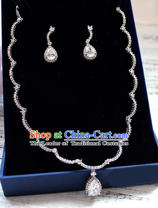 Top Grade Handmade China Wedding Bride Accessories Zircon Earrings and Necklace, Traditional Princess Wedding Crystal Clavicle Chain Necklace Earbob Jewelry for Women