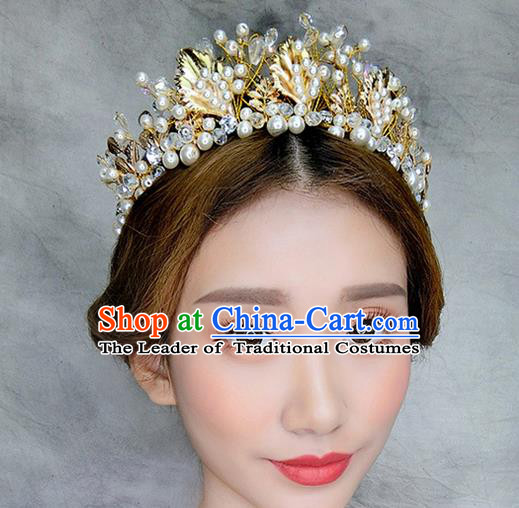 Top Grade Handmade Wedding Hair Accessories Bride Pearl Hair Crown, Traditional Baroque Princess Royal Crown Wedding Headwear for Women