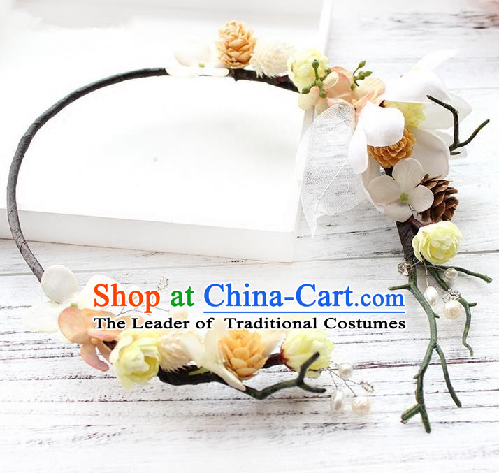 Top Grade Handmade Wedding Bride Hair Accessories White Flower Hair Clasp, Traditional Princess Baroque Headband Headpiece for Women