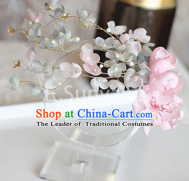 Top Grade Handmade Wedding Bride Hair Accessories Pink Flower Hair Stick, Traditional Princess Baroque Hair Clips Headpiece for Women