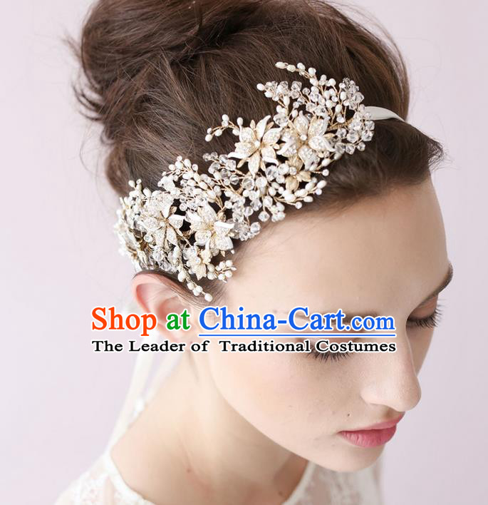 Top Grade Handmade Wedding Bride Hair Accessories Crystal Headband, Traditional Princess Baroque Hair Stick Headpiece Hair Clasp for Women