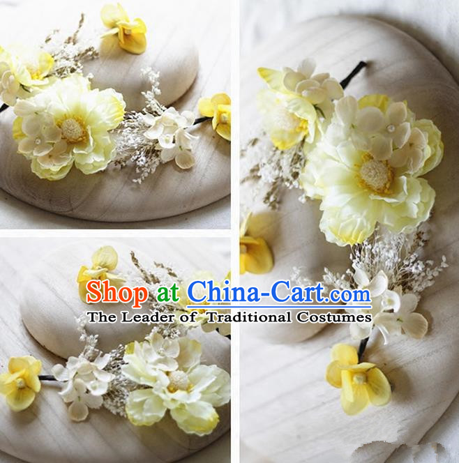 Top Grade Handmade Wedding Bride Hair Accessories Yellow Silk Flower Hair Stick Complete Set, Traditional Princess Baroque Hairpins Headpiece for Women