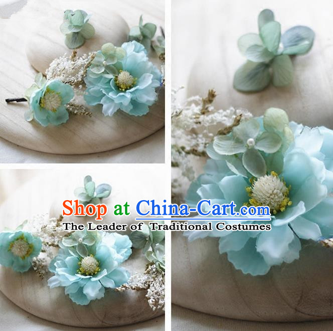 Top Grade Handmade Wedding Bride Hair Accessories Blue Silk Flower Hair Stick Complete Set, Traditional Princess Baroque Hairpins Headpiece for Women