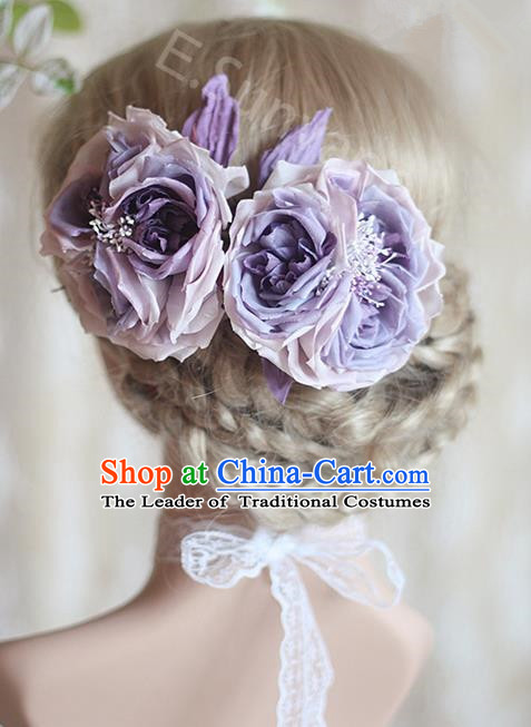 Top Grade Handmade Wedding Bride Hair Accessories Purple Silk Rose Flower Hair Stick, Traditional Princess Baroque Hairpin Headpiece for Women