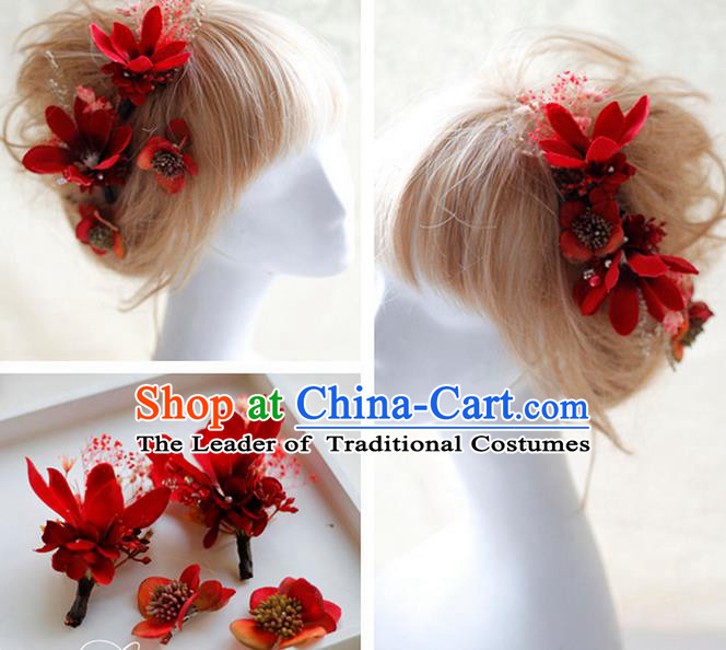 Top Grade Handmade Wedding Bride Hair Accessories Red Flowers Hair Claws, Traditional Princess Baroque Hairpin Headpiece for Women