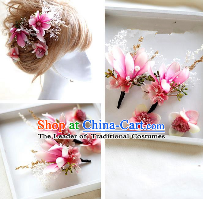 Top Grade Handmade Wedding Bride Hair Accessories Pink Flowers Hair Claws, Traditional Princess Baroque Hairpin Headpiece for Women