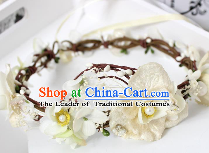 Top Grade Handmade Wedding Bride Hair Accessories Yellow Flowers Garland, Traditional Princess Baroque Hair Clips Headpiece for Women