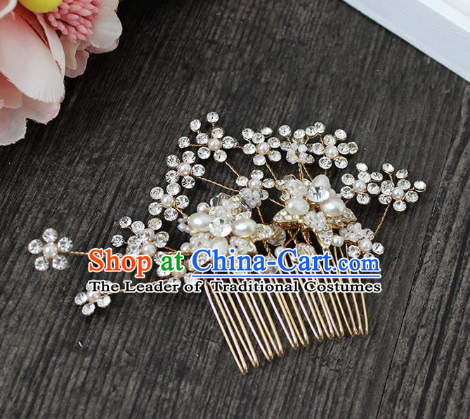 Top Grade Handmade Wedding Bride Hair Accessories Crystal Headwear, Traditional Princess Baroque Hair Combs Headpiece Hair Clips for Women