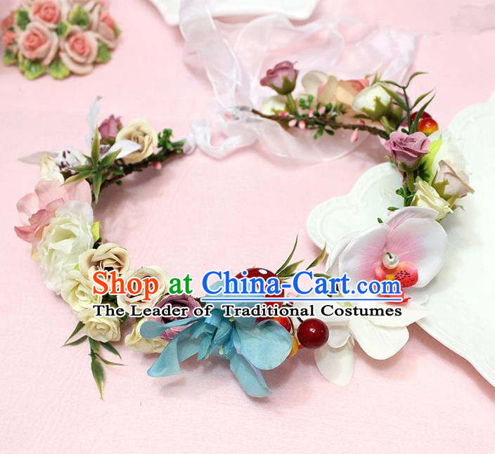 Top Grade Handmade Wedding Hair Accessories Bride Flowers Garland, Traditional Princess Baroque Hair Clips Headpiece for Women