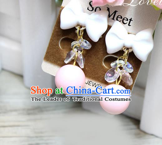 Top Grade Handmade China Wedding Bride Accessories Pink Bead Earrings, Traditional Princess Wedding Earbob Jewelry for Women