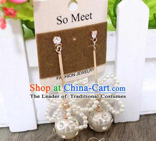 Top Grade Handmade China Wedding Bride Accessories White Bead Earrings, Traditional Princess Wedding Earbob Jewelry for Women