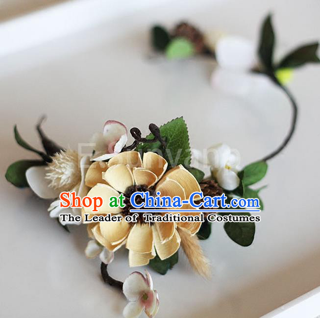 Top Grade Handmade Wedding Hair Accessories Bride Yellow Flowers Garland, Traditional Princess Baroque Hair Clips Headpiece for Women