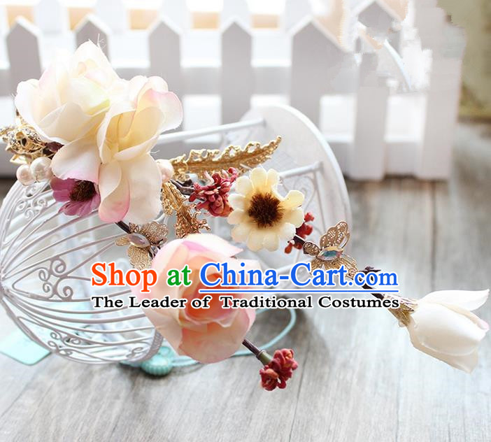 Top Grade Handmade Wedding Hair Accessories Bride Flowers Head Clips, Traditional Princess Baroque Hair Stick Headpiece for Women