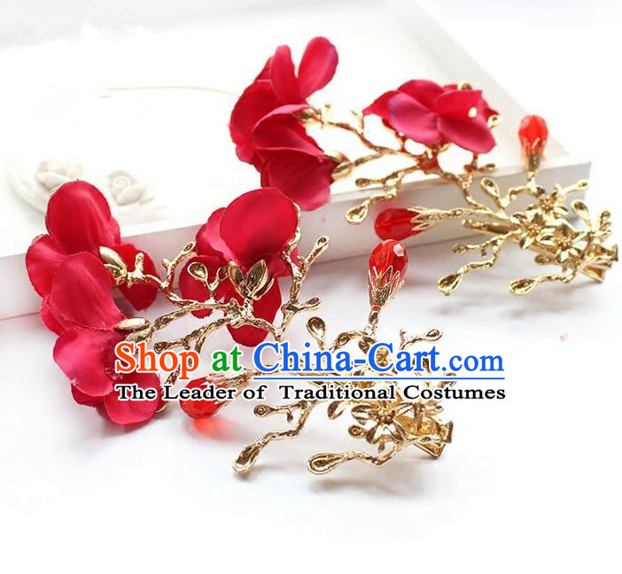 Top Grade Handmade Wedding Bride Hair Accessories Red Flowers Hair Stick, Traditional Princess Baroque Hair Clips Headpiece for Women