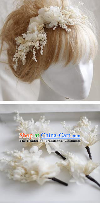 Top Grade Handmade Wedding Bride Hair Accessories White Flowers Headwear, Traditional Princess Baroque Hair Stick Headpiece Hairpins Complete Set for Women