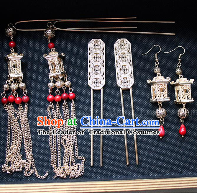 Top Grade Chinese Handmade Wedding Hair Accessories Complete Set, Traditional China Xiuhe Suit Bride Tassel Hairpins Headwear for Women