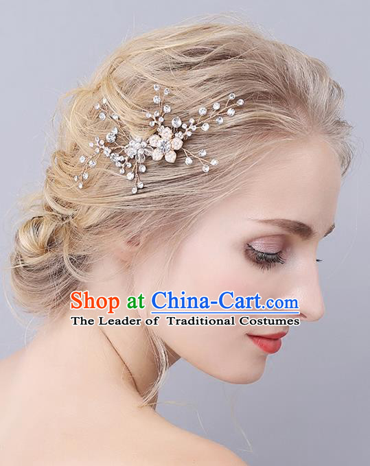 Top Grade Handmade Wedding Bride Hair Accessories Crystal Flowers Hair Clasp, Traditional Princess Baroque Hair Stick Headpiece for Women