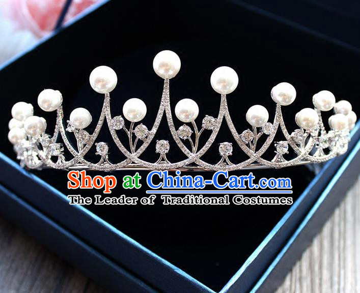 Top Grade Handmade Wedding Hair Accessories Bride Luxury Shell Pearl Crown, Traditional Baroque Crystal Royal Crown Wedding Headwear for Women