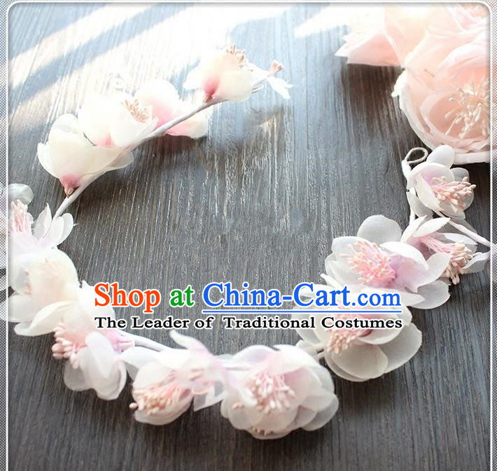 Top Grade Handmade Wedding Bride Hair Accessories Pink Flower Hair Clasp, Traditional Princess Baroque Hair Stick Headpiece Hairpins for Women