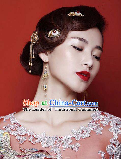 Top Grade Chinese Handmade Wedding Jade Hair Accessories Complete Set, Traditional China Xiuhe Suit Bride Tassel Hairpins Headwear for Women