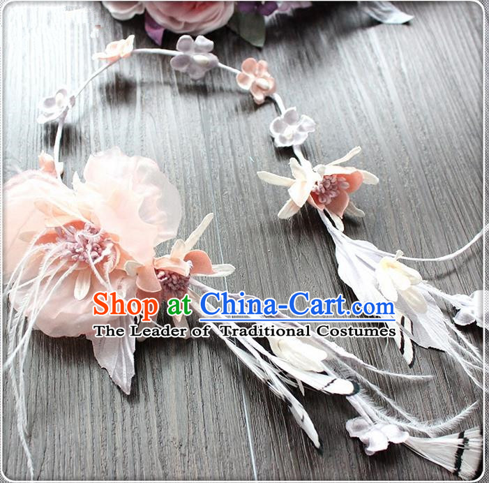 Top Grade Handmade Wedding Bride Hair Accessories Pink Feather Hair Clasp, Traditional Princess Baroque Hair Stick Headpiece Hairpins for Women