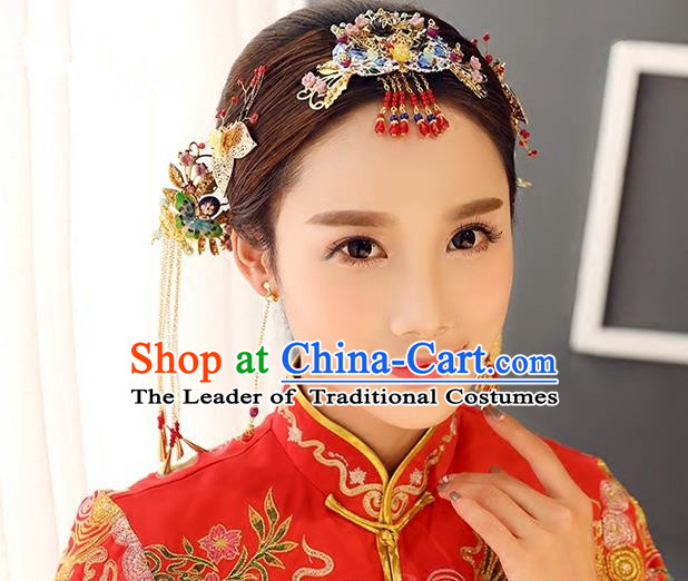 Top Grade Chinese Handmade Wedding Jade Blueing Hair Accessories Complete Set, Traditional China Xiuhe Suit Bride Tassel Hairpins Headwear for Women