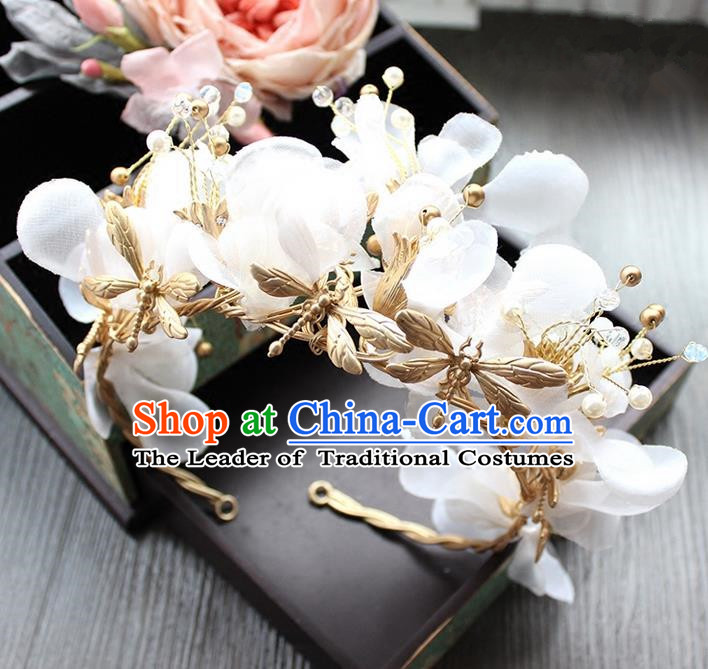 Top Grade Handmade Wedding Bride Hair Accessories Silk Flowers Hair Clasp, Traditional Princess Baroque Hair Stick Headpiece for Women