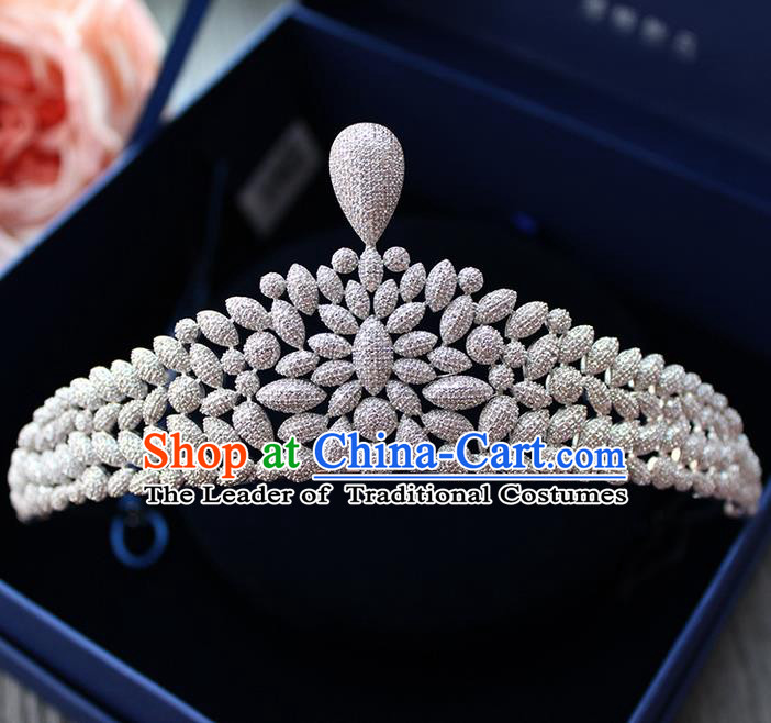 Top Grade Handmade Wedding Hair Accessories Bride Luxury Diamante Crown, Traditional Baroque Zircon Crystal Royal Crown Wedding Headwear for Women