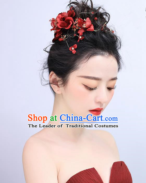 Top Grade Handmade Wedding Bride Hair Accessories Red Hairpins, Traditional Princess Baroque Hair Claws Headpiece for Women
