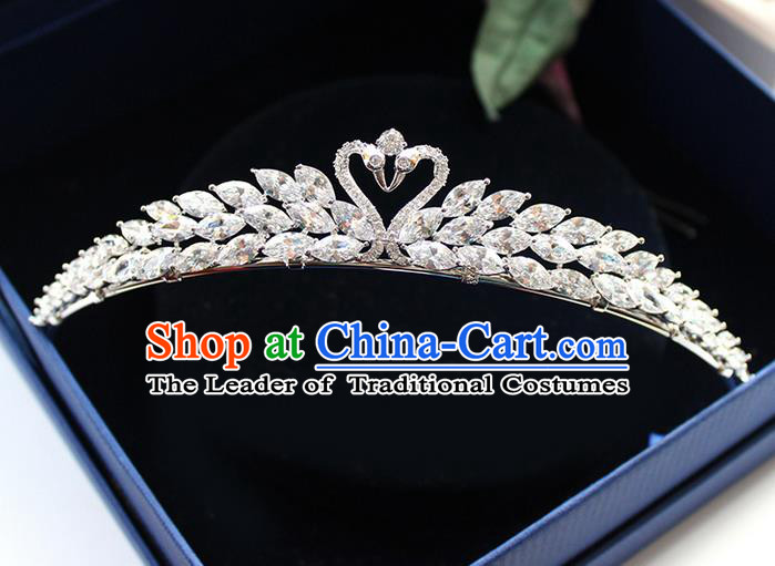 Top Grade Handmade Wedding Hair Accessories Bride Luxury Zircon Queen Crown, Traditional Baroque Crystal Swan Royal Crown Wedding Headwear for Women