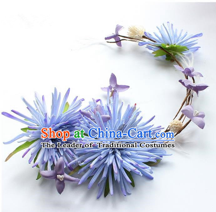 Top Grade Handmade Wedding Bride Hair Accessories Blue Flowers Hair Clasp, Traditional Princess Baroque Flowers Headband Headpiece for Women