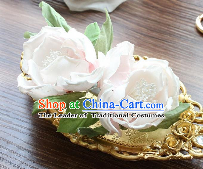 Top Grade Handmade Wedding Bride Hair Accessories Flowers Hair Claw, Traditional Princess Baroque Flowers Hairpins Headpiece for Women
