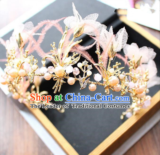 Top Grade Handmade Wedding Bride Hair Accessories Pink Feather Hair Clasp, Traditional Princess Baroque Pearl Hair Clip Headpiece Hairpins for Women
