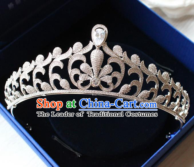 Top Grade Handmade Wedding Hair Accessories Bride Luxury Zircon Crown, Traditional Baroque Crystal Queen Royal Crown Wedding Headwear for Women